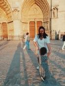 Dancing in front of Notre-Dame de Paris